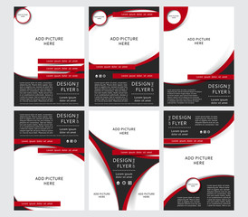 Set of Vector design of the black flyers, cover, brochure, poster, report with places for pictures with red elements. Vector templates for your business in A4 size.