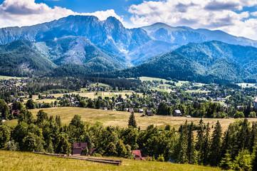 Landscape of Tatra Mountains, view at Zakopane