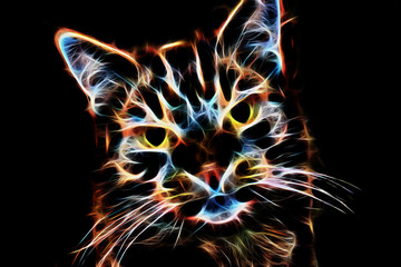Katze abstraktes Gemälde aus Flammen