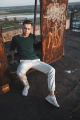 fashion man on roof