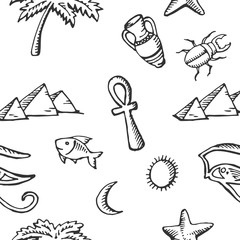 Seamless pattern sketch collection of Egyptian symbols