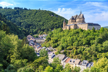 Vianden castle and a small valley