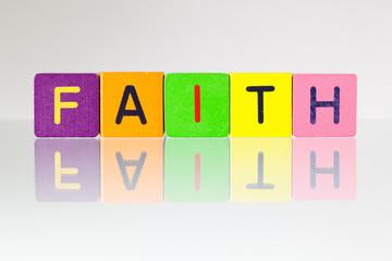 Faith - an inscription from children's blocks