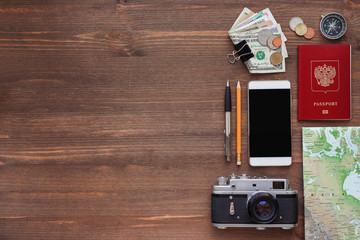 Travel background. Different things you need for journey - smartphone, map, passport, money.