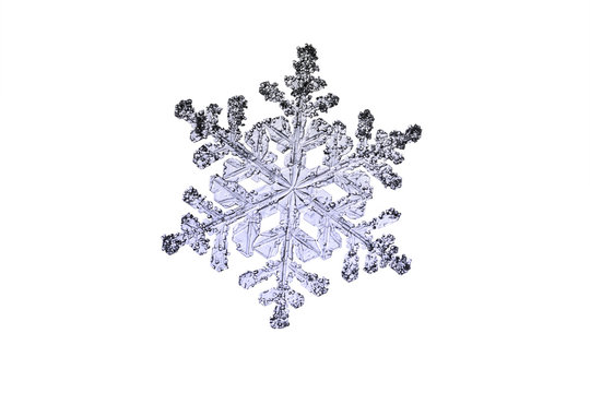 real natural flake, snowflake macro isolated on white background