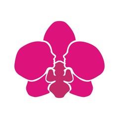 орхидея и профиль девушки