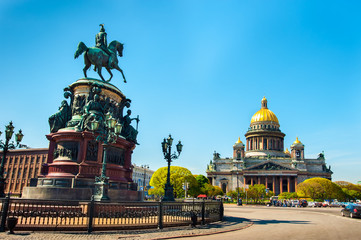Saint Isaac's Cathedral and the Monument to Emperor Nicholas I, St Petersburg , Russia