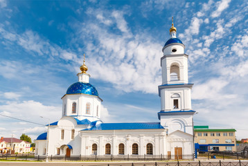 white church on a background of blue sky