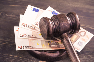 Gavel and some euro banknotes