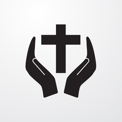 Christian cross with hand icon