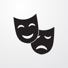 Theatrical masks sign icon for web and mobile.