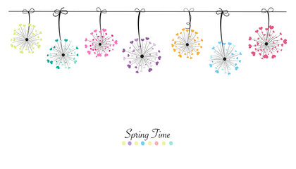 Colorful abstract hanging love dandelion spring time banner background