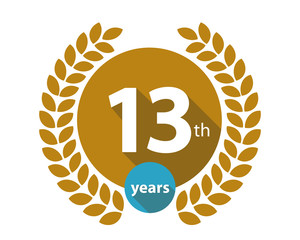 13th years gold circle anniversary logo