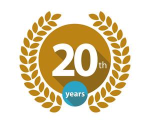 20th years gold circle anniversary logo