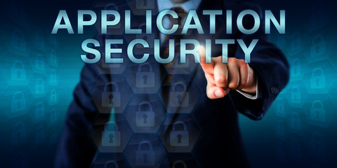 Executive Pushing APPLICATION SECURITY Onscreen