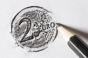 Pencil drawing 2 euro coin on white paper