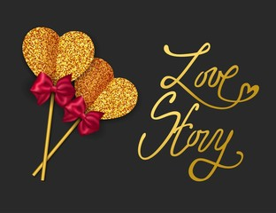 LOVE STORY - Valentines Day Greeting card. Happy Valentines Day Background. Gold paper heart and red bow tie. Vector illustration.
