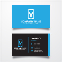 Phone repair icon. Business card vector template.