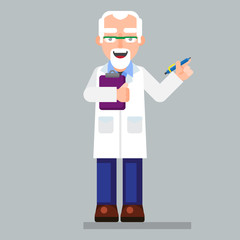 old scientist character wearing glasses and lab coat with pen