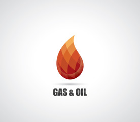 Symbol of gas and oil - drop made of geometric elements