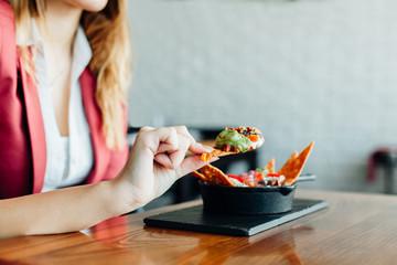 Woman enjoying in food