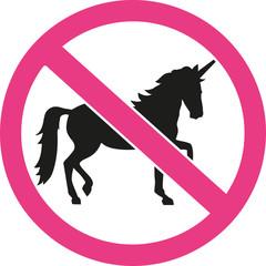 Unicorns forbidden ban sign