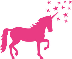 Pink unicorn with a lot of stars around the horn