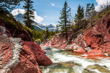 Red Rock creek in motion and canyon