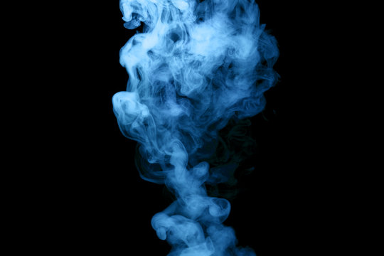 blue steam on the black background