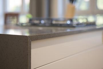 Kitchen counter top bllured background