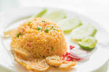 Fried Rice with Crispy Gourami Fish