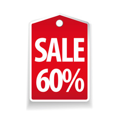 Sale sixty percent pricetag red vector