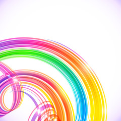 Rainbow colors abstract shining spirals background
