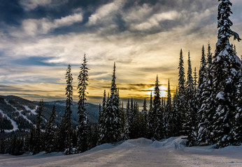 Wall Mural - Sunset over the ski hills at Sun Peaks village with trees covered in snow in the high alpine mountains near the village of Sun Peaks in the Shuswap Highlands of central British Columbia, Canada