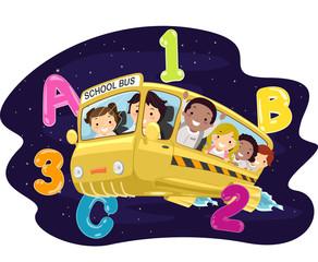 Stickman Kids School Bus Galaxy