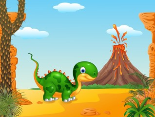 Cute baby dinosaur posing in the prehistoric background