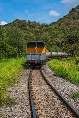 Train railroad transport at countryside, saraburi-thailand