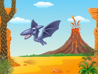 A cute pterodactyl mascot with prehistoric background