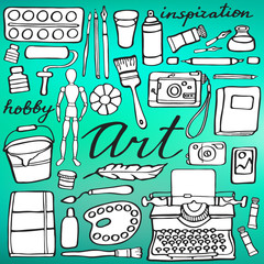 Art supplies set. Hand-drawn cartoon collection of art tools. Doodle drawing.