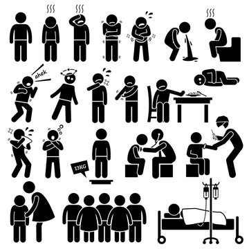 Children Sick Sickness Ill Illness Disease Flu Problem Health Stick Figure Pictogram Icons