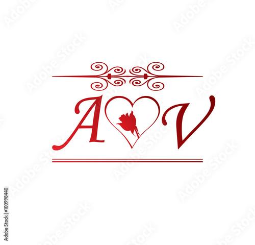 """H Letter In Love """"AV love initial ..."""