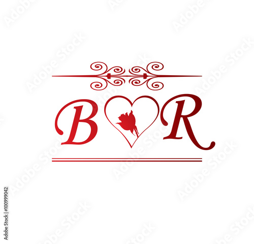 Br Love Initial With Red Heart And Rose Stock Image And Royalty