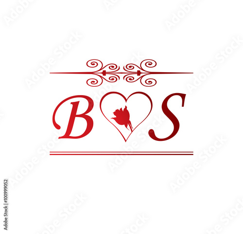 bs love initial with red heart and rose stock image and royalty