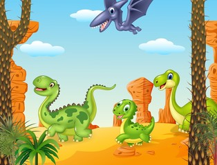 Collection dinosaur character in the prehistoric background