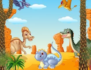 Illustration of group dinosaur in the prehistoric background