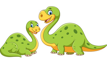 Happy mother with baby dinosaur posing isolated on white background