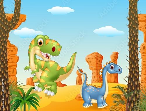 Cute dinosaur posing in the desert background