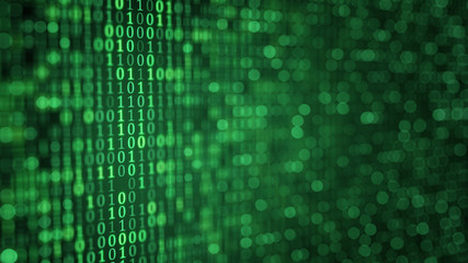 green digital binary data close-up