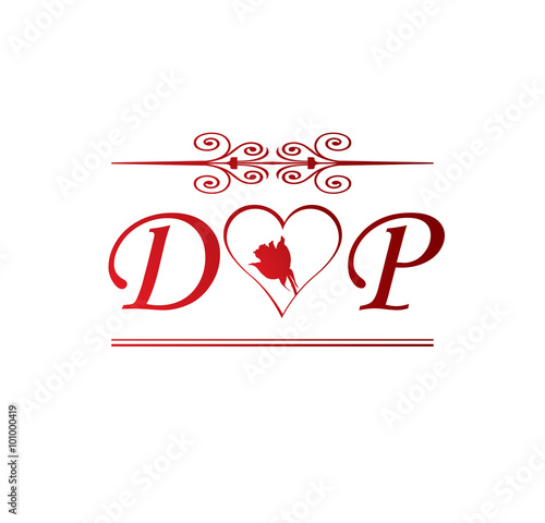 """DP Love Initial With Red Heart And Rose"" Stock Image And"