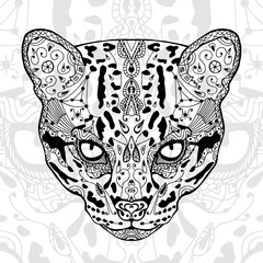 The black and wild cat white  print with ethnic zentangle patterns. Coloring book for adults antistress. Art therapy, zenart, meditaion. The image on the fabric, tattoo